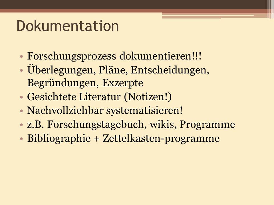 Dokumentation Forschungsprozess dokumentieren!!!
