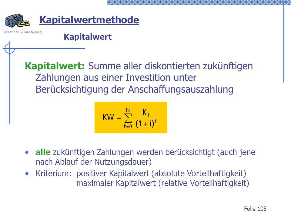Kapitalwertmethode Kapitalwert.