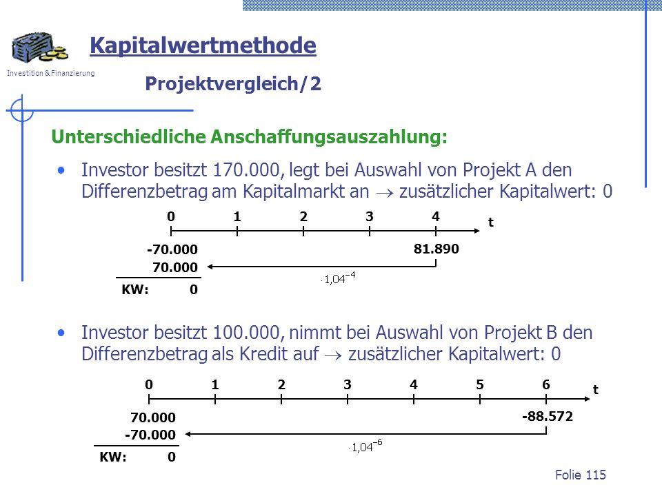 Kapitalwertmethode Projektvergleich/2