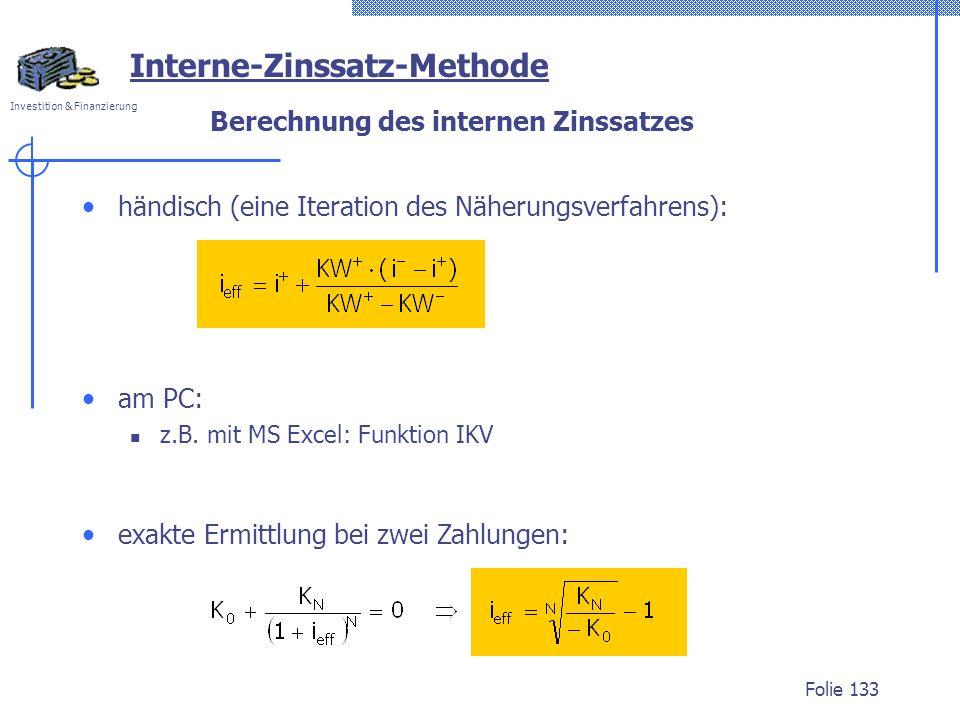 Berechnung des internen Zinssatzes