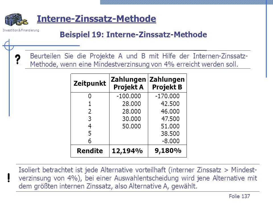 Beispiel 19: Interne-Zinssatz-Methode