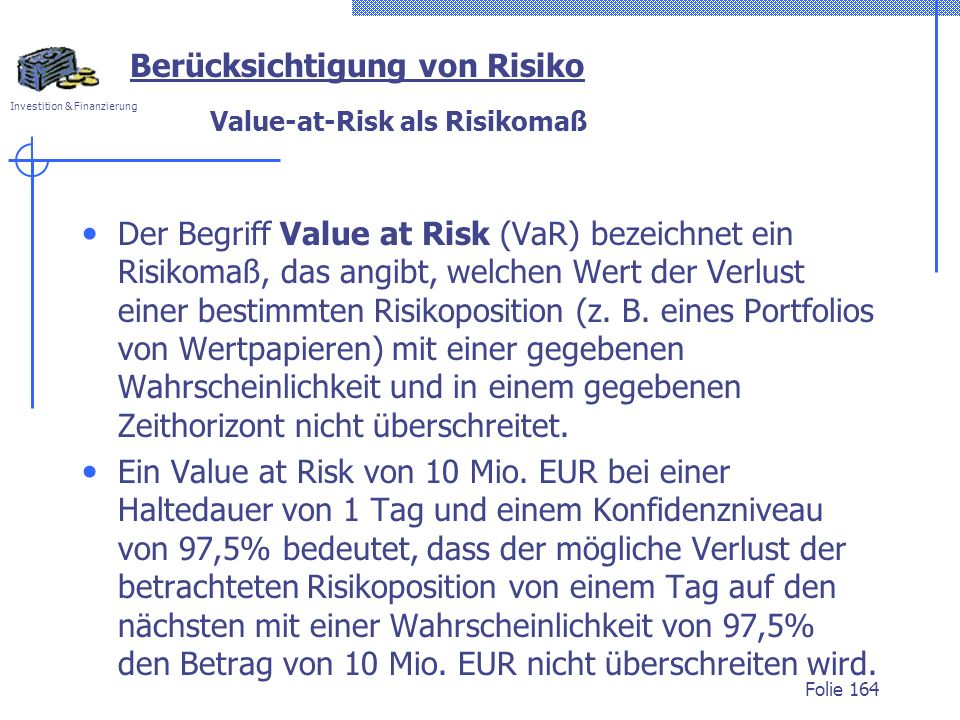Value-at-Risk als Risikomaß