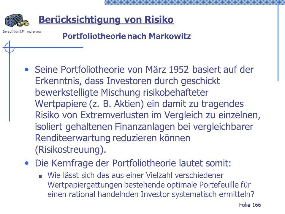 Portfoliotheorie nach Markowitz