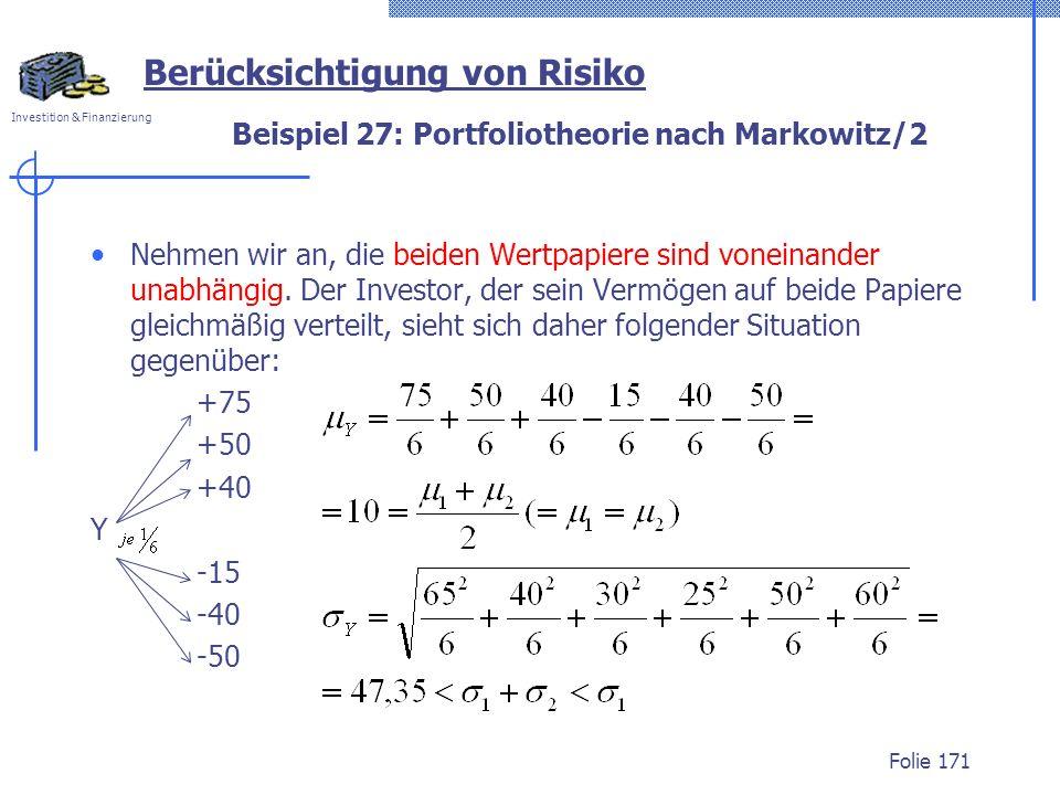 Beispiel 27: Portfoliotheorie nach Markowitz/2