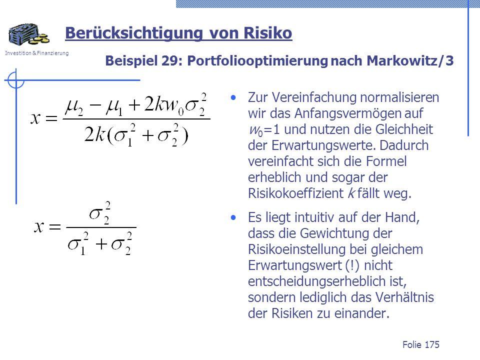 Beispiel 29: Portfoliooptimierung nach Markowitz/3