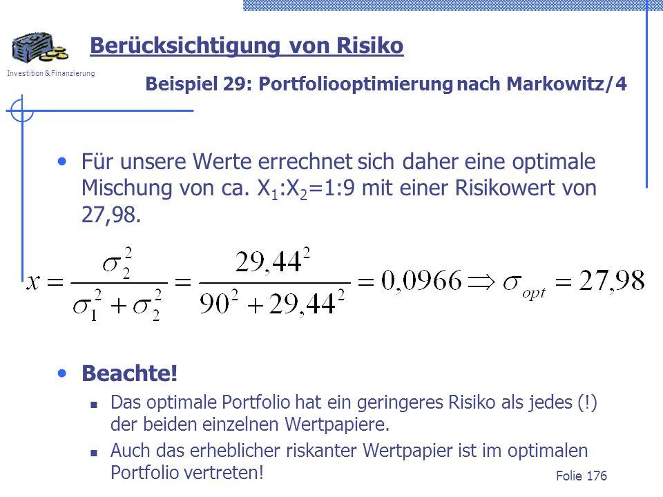 Beispiel 29: Portfoliooptimierung nach Markowitz/4