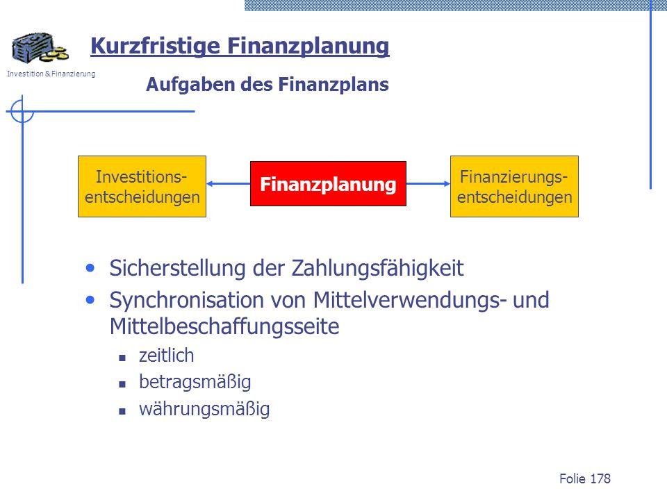 Aufgaben des Finanzplans