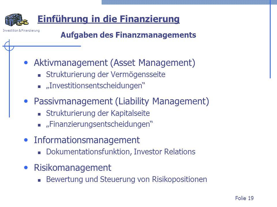 Aufgaben des Finanzmanagements