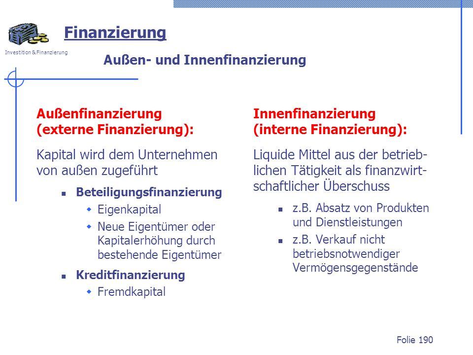 Außen- und Innenfinanzierung