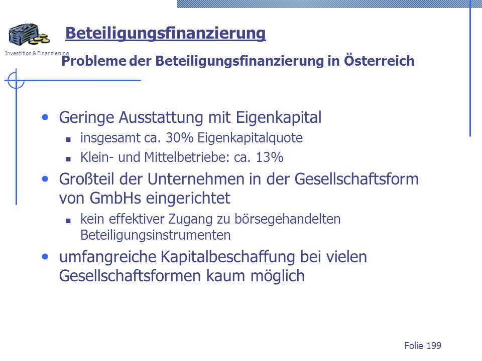Probleme der Beteiligungsfinanzierung in Österreich