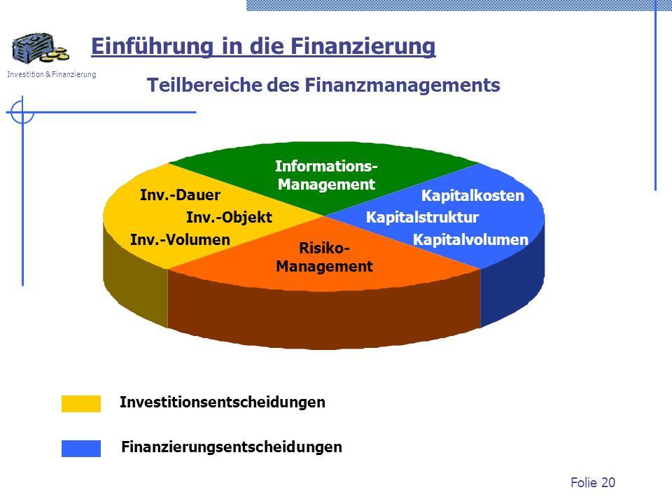 Teilbereiche des Finanzmanagements
