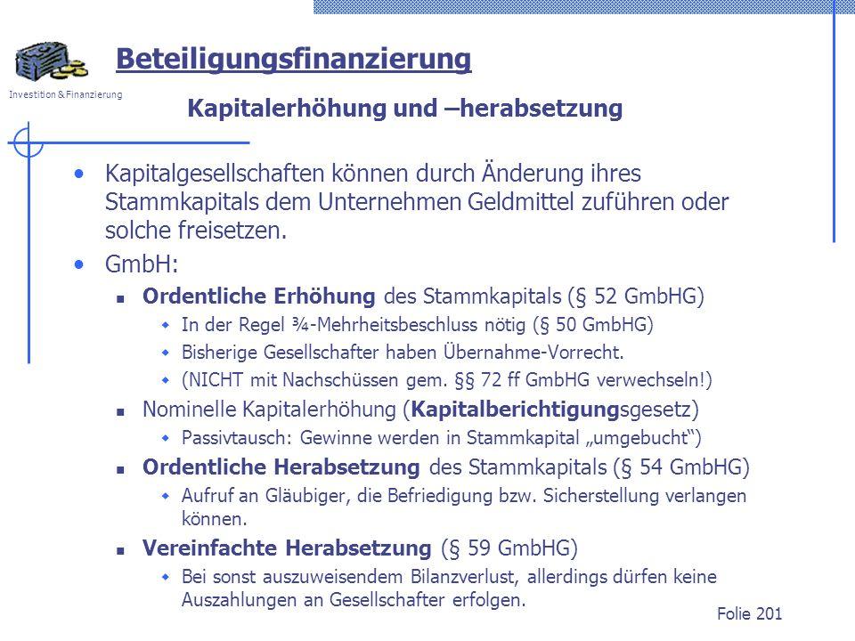 Kapitalerhöhung und –herabsetzung