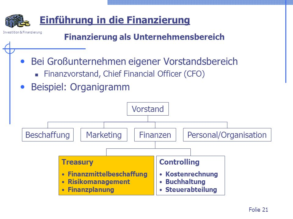 Finanzierung als Unternehmensbereich