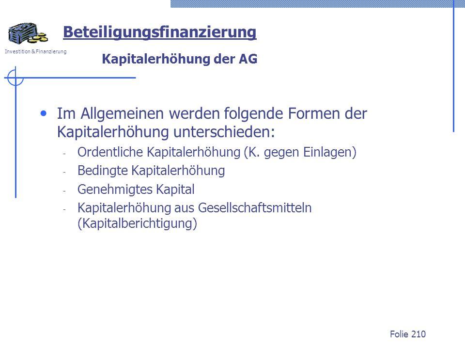 Kapitalerhöhung der AG