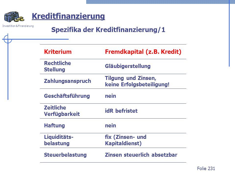 Spezifika der Kreditfinanzierung/1