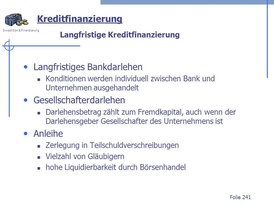 Langfristige Kreditfinanzierung