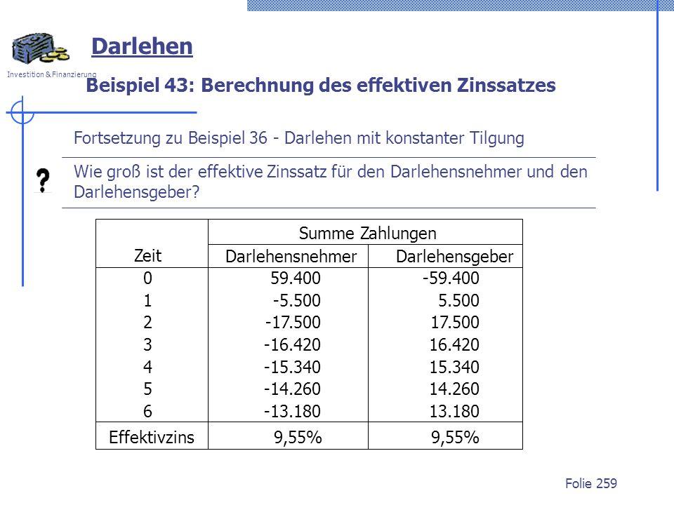 Beispiel 43: Berechnung des effektiven Zinssatzes