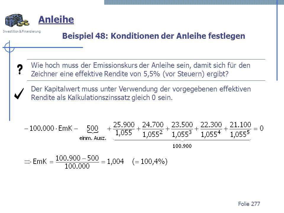 Beispiel 48: Konditionen der Anleihe festlegen