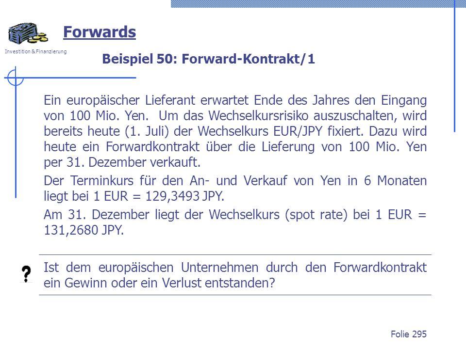Beispiel 50: Forward-Kontrakt/1