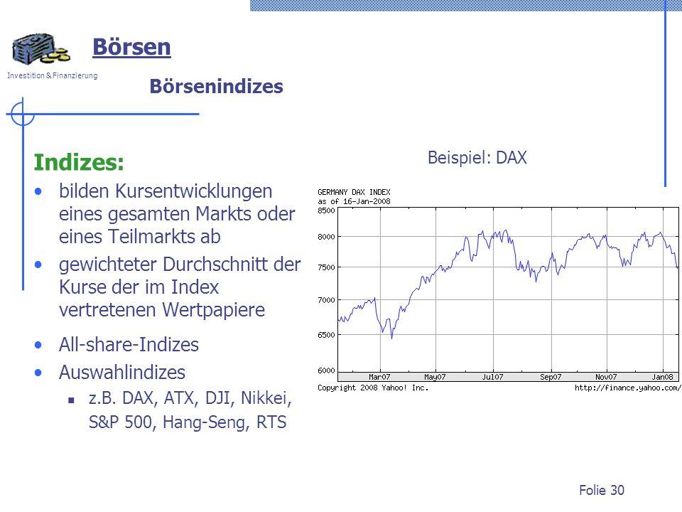 Börsen Indizes: Börsenindizes