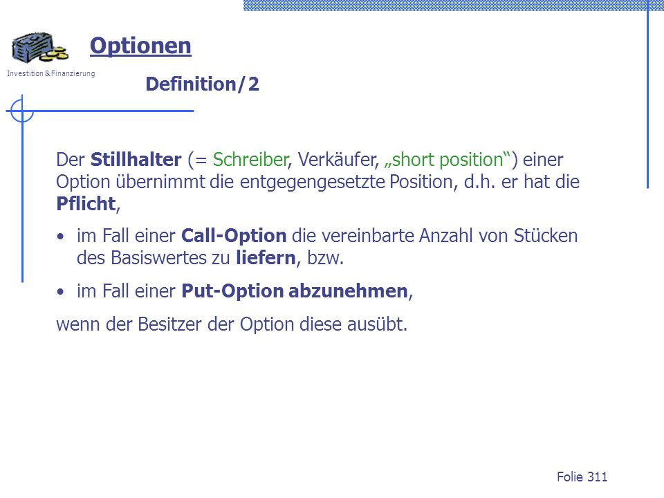 Optionen Definition/2.