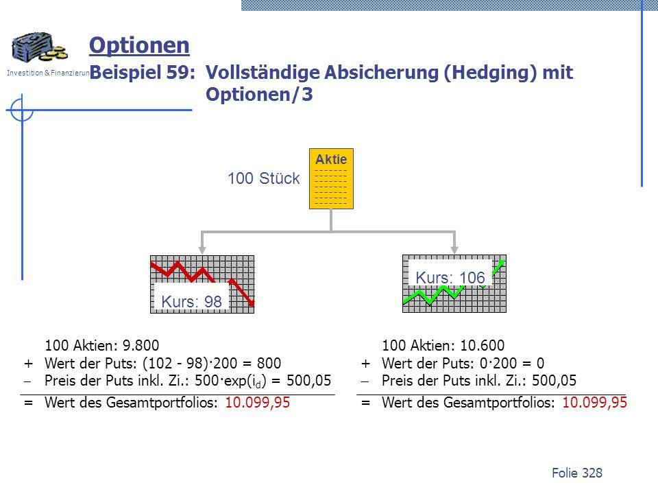Beispiel 59: Vollständige Absicherung (Hedging) mit Optionen/3