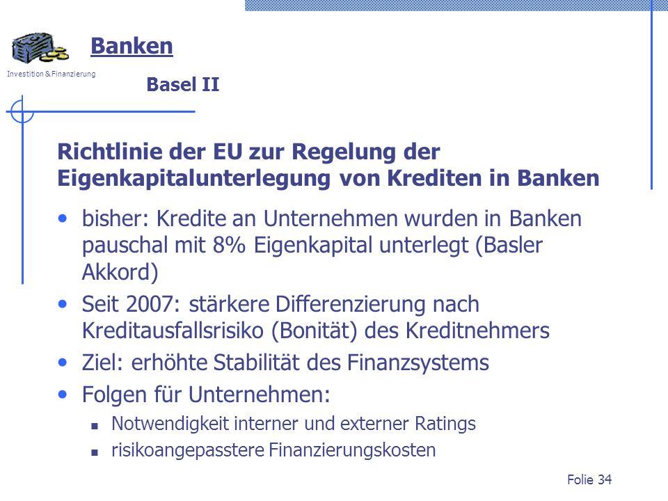 Ziel: erhöhte Stabilität des Finanzsystems Folgen für Unternehmen: