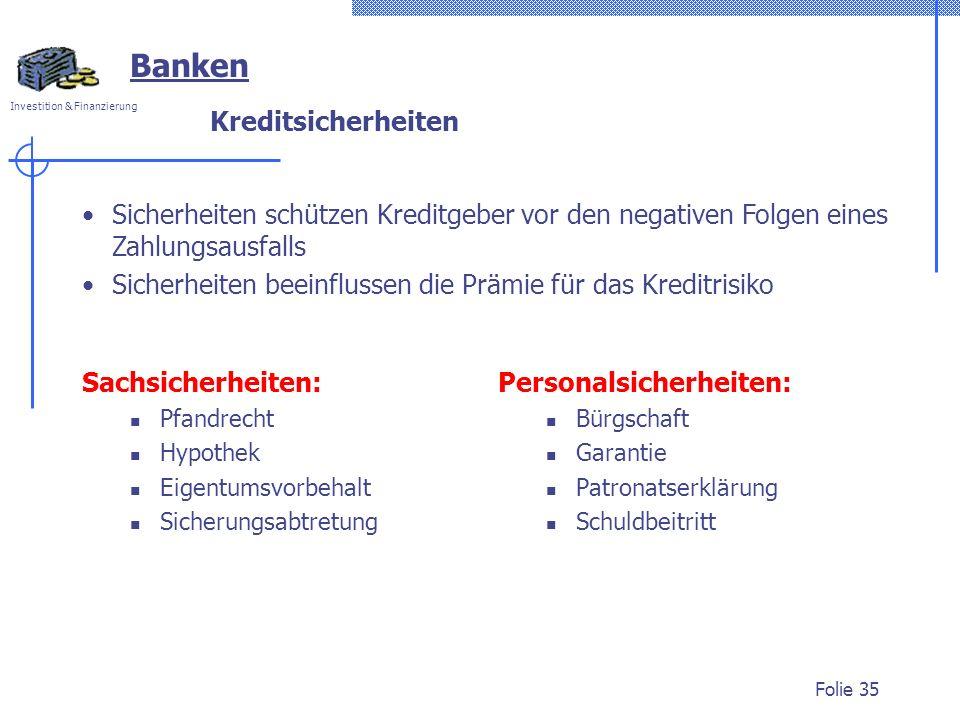 Banken Kreditsicherheiten