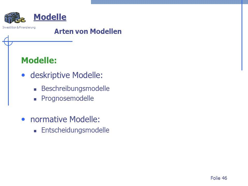 Modelle Modelle: deskriptive Modelle: normative Modelle: