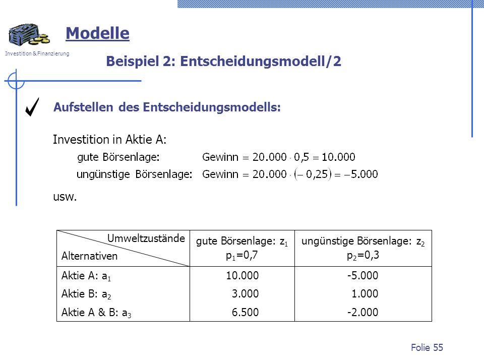 Beispiel 2: Entscheidungsmodell/2