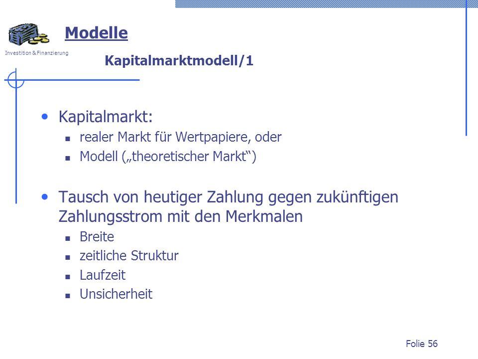 Modelle Kapitalmarkt: