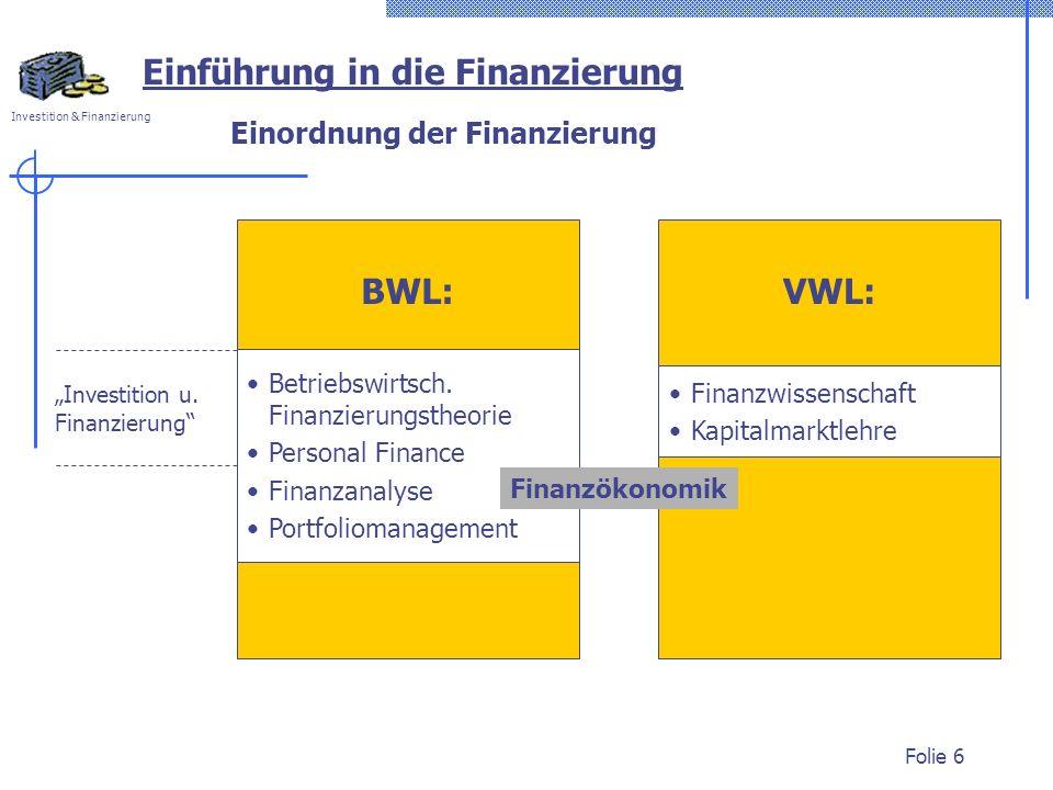 Einordnung der Finanzierung