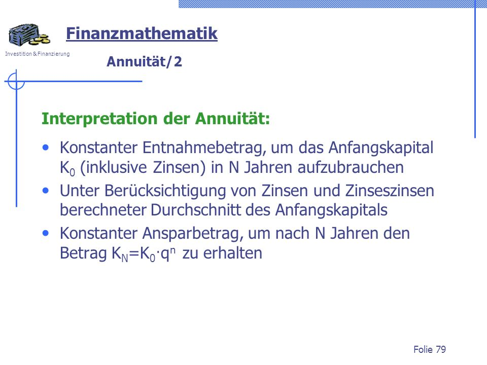 Interpretation der Annuität: