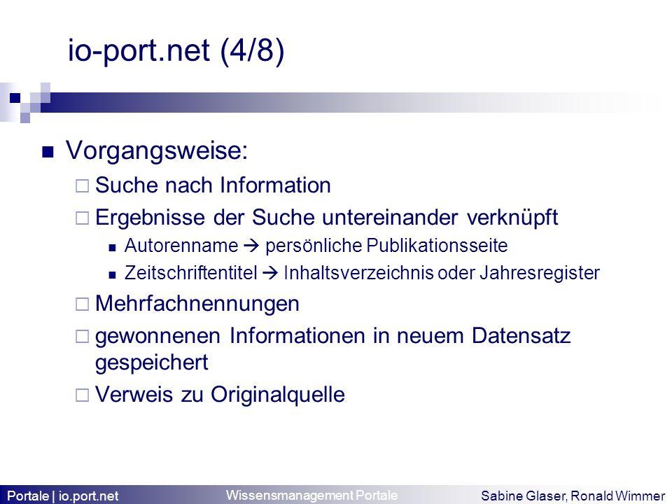 io-port.net (4/8) Vorgangsweise: Suche nach Information