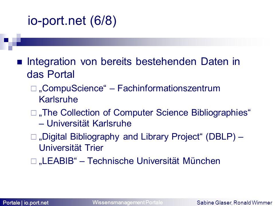 """io-port.net (6/8) Integration von bereits bestehenden Daten in das Portal. """"CompuScience – Fachinformationszentrum Karlsruhe."""