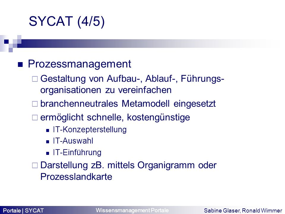 SYCAT (4/5) Prozessmanagement