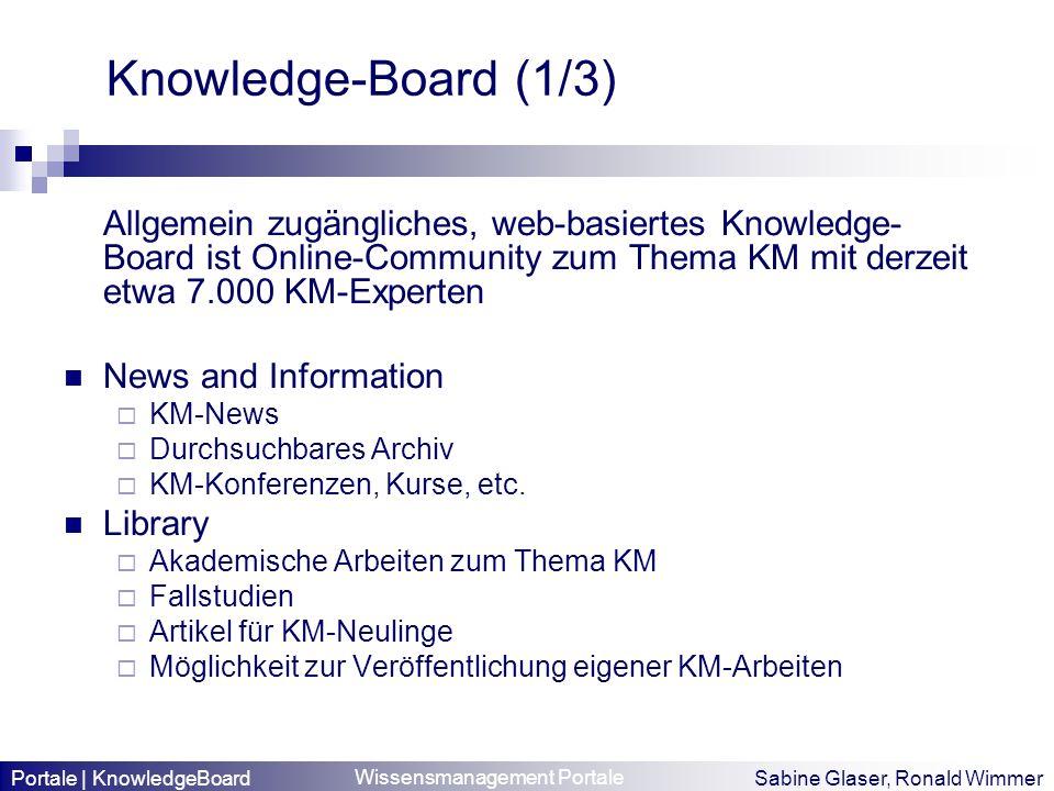 Knowledge-Board (1/3) Allgemein zugängliches, web-basiertes Knowledge-Board ist Online-Community zum Thema KM mit derzeit etwa 7.000 KM-Experten.