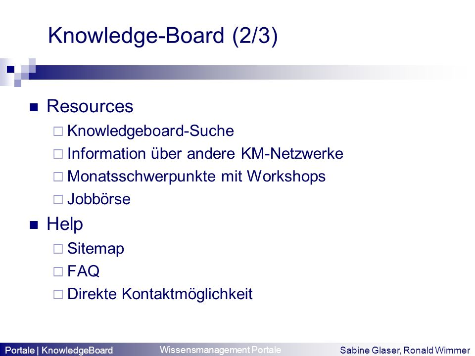 Knowledge-Board (2/3) Resources Help Knowledgeboard-Suche