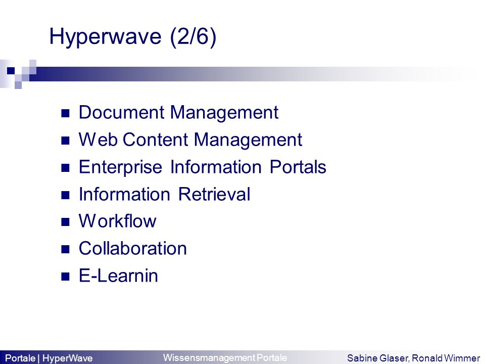 Hyperwave (2/6) Document Management Web Content Management