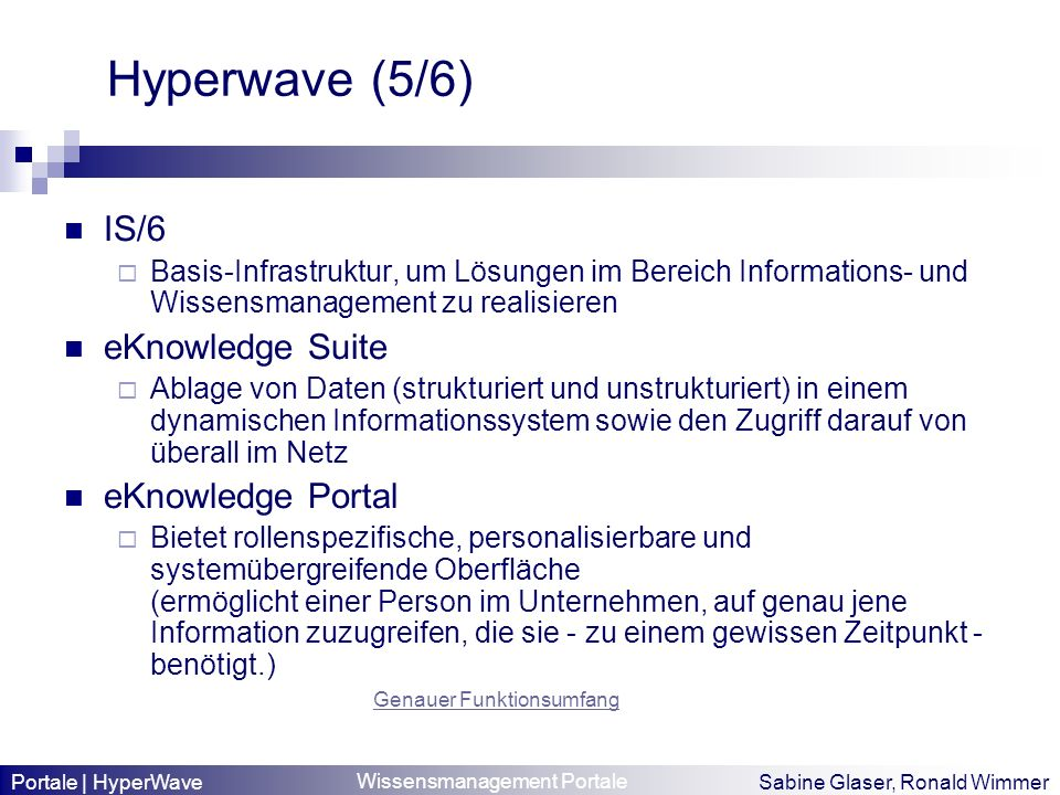 Hyperwave (5/6) IS/6 eKnowledge Suite eKnowledge Portal
