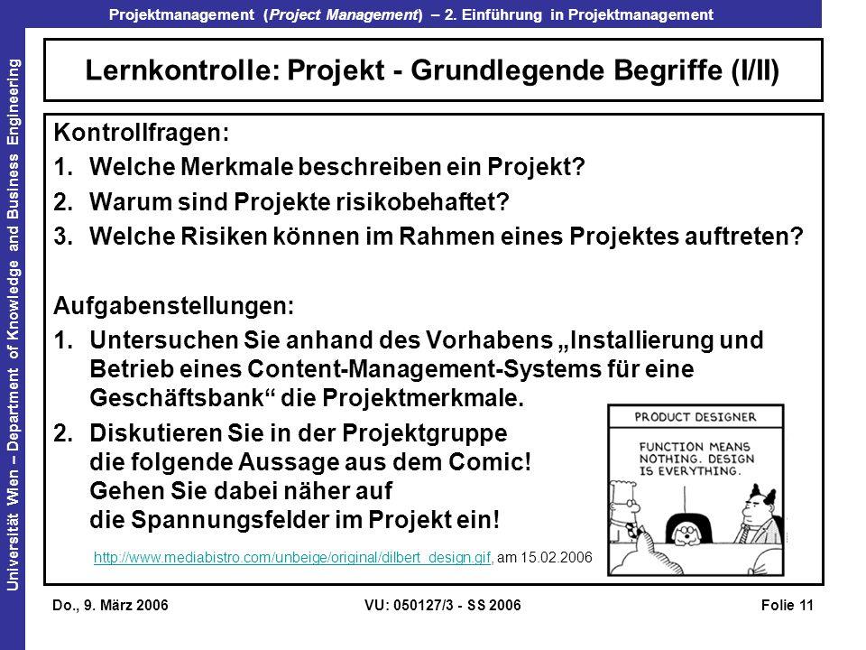 Lernkontrolle: Projekt - Grundlegende Begriffe (I/II)