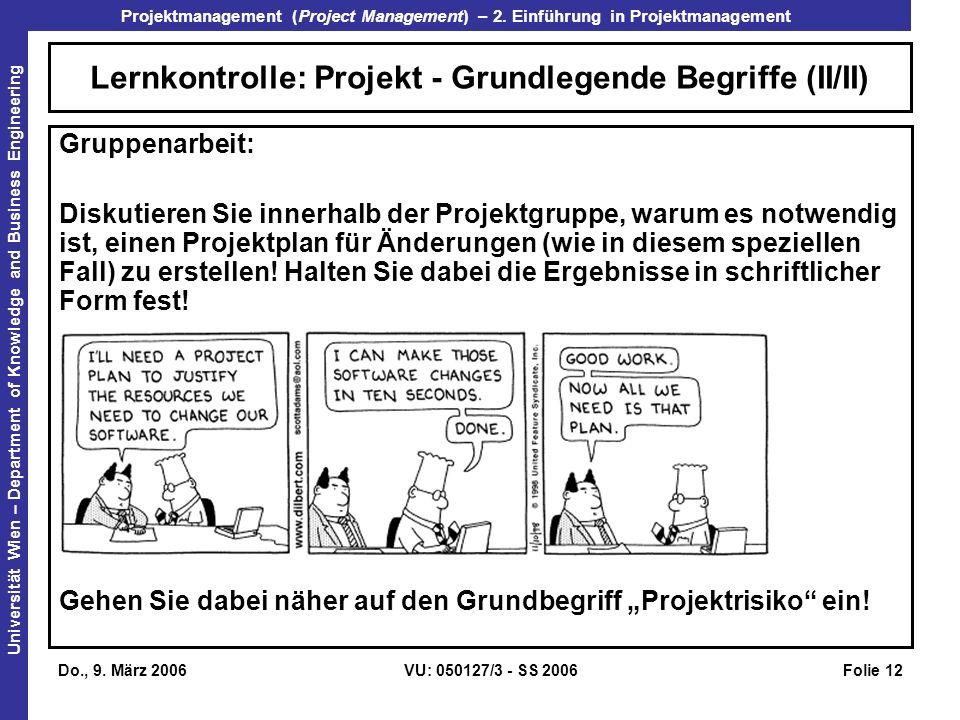 Lernkontrolle: Projekt - Grundlegende Begriffe (II/II)