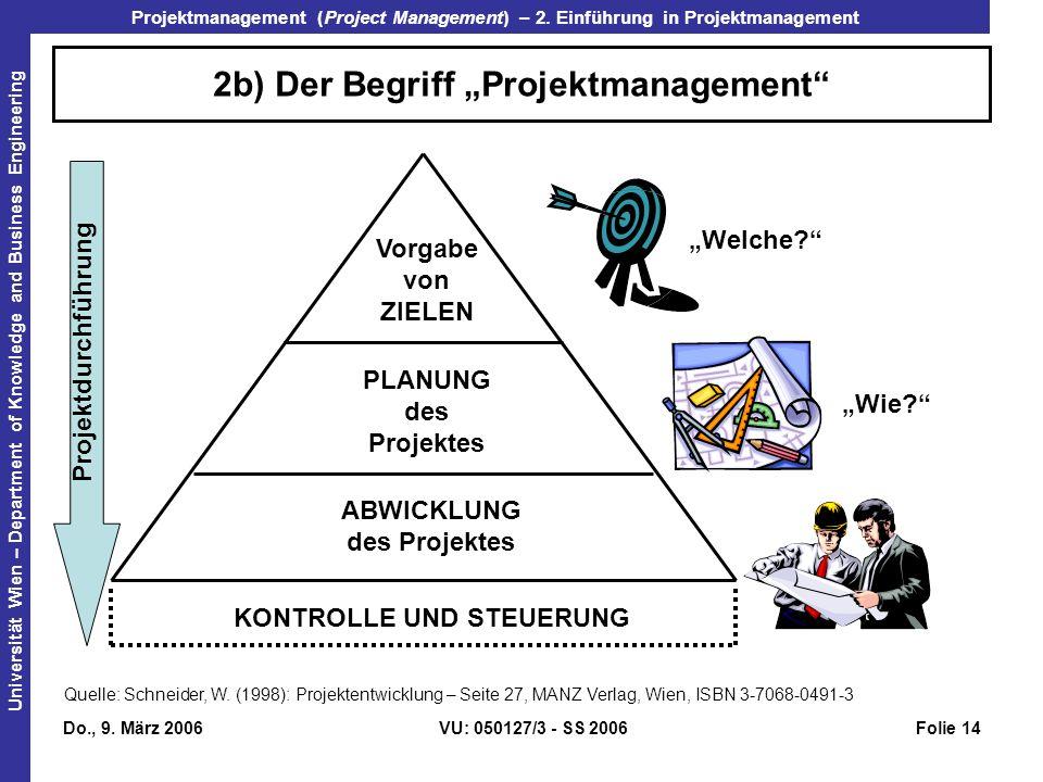 """2b) Der Begriff """"Projektmanagement"""