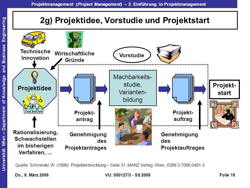 2g) Projektidee, Vorstudie und Projektstart