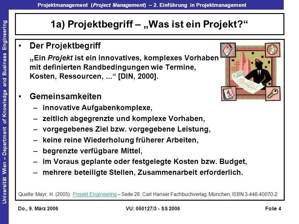 """1a) Projektbegriff – """"Was ist ein Projekt"""