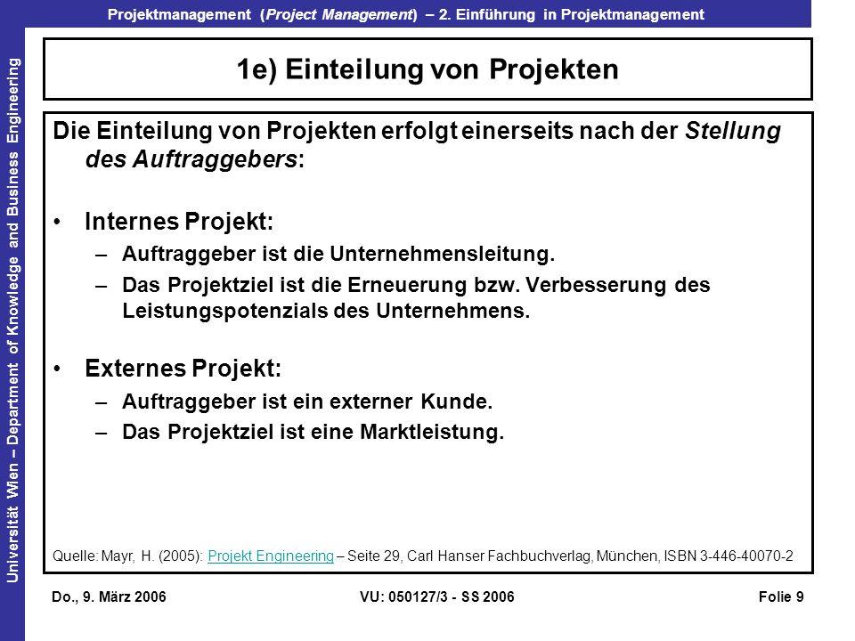 1e) Einteilung von Projekten
