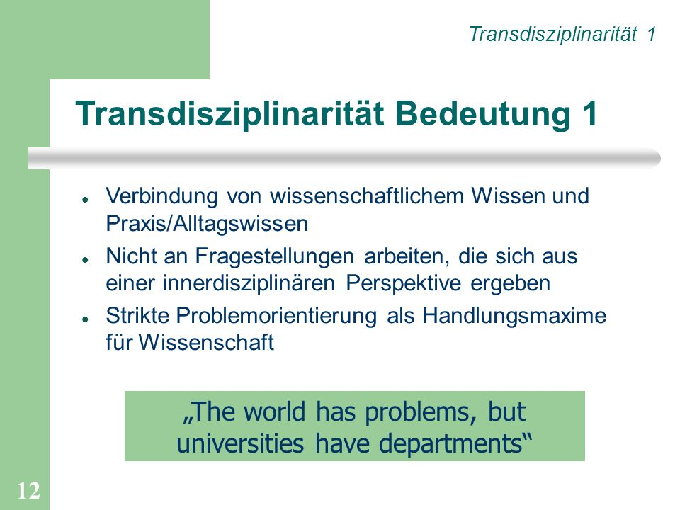 """The world has problems, but universities have departments"