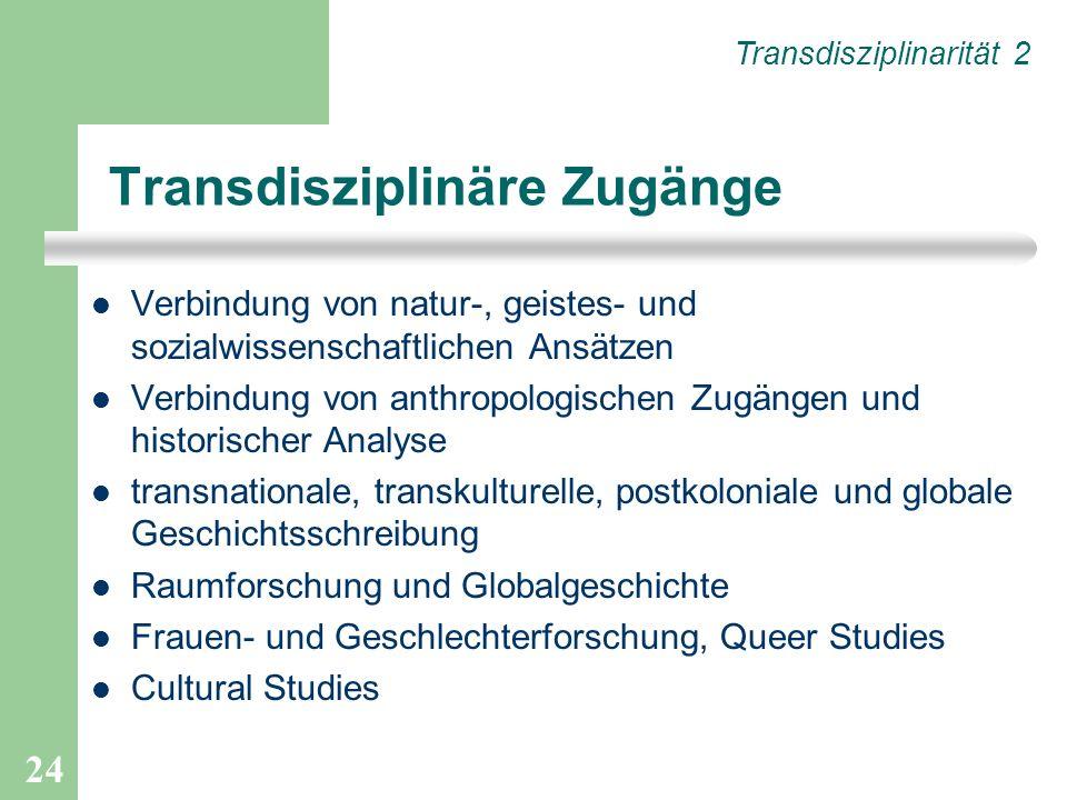 Transdisziplinäre Zugänge