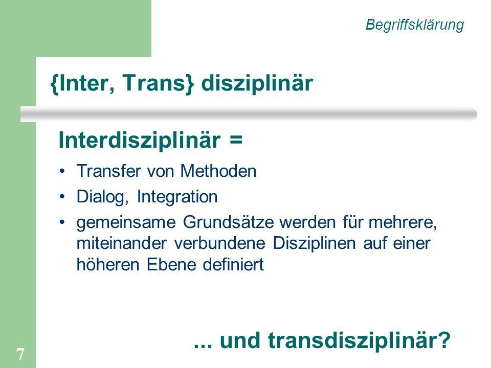 {Inter, Trans} disziplinär