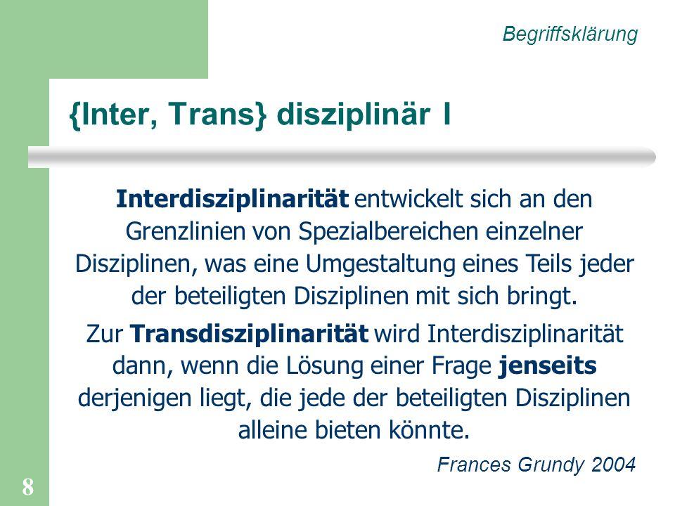 {Inter, Trans} disziplinär I